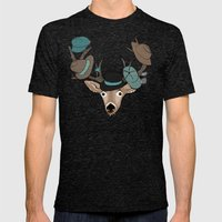 Deer Hat Rack Mens Fitted Tee Tri-Black SMALL