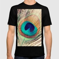 Peacock Feather  Mens Fitted Tee Black SMALL