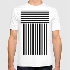 stripes SMALL White Mens Fitted Tee