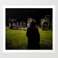 Art Prints featuring Druid Princess of Stonehenge by  AQUAMAN DESIGN