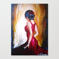 'Lady in Red' by Ashley Rose Standish (Dancer, dancing, Spanish, Latin) Canvas Print