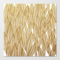 Gold & White Leaves Canvas Print