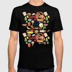 LIFE IS FOOD Mens Fitted Tee SMALL Black