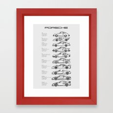 Minimal Porsche Profiles (text) Framed Art Print
