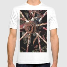 Rusted Wheel Mens Fitted Tee SMALL White