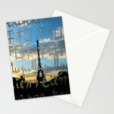 The Eiffel Tower behind the peace word - Traveling series Stationery Cards