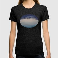 Ombre Lake Ripples Womens Fitted Tee Tri-Black SMALL