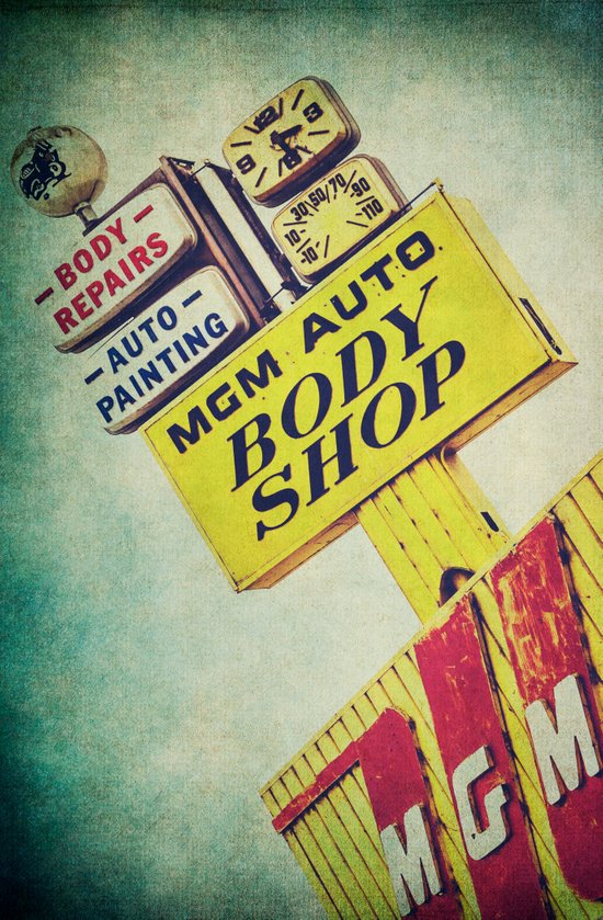 MGM Auto Body Shop Vintage Sign Art Print
