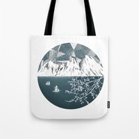 Mountain print , Navy Blue poster , mid century Modern art , travel poster Tote Bag