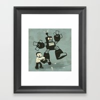 One Button Destruction Framed Art Print