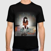 Zooey Deschanel Night Mens Fitted Tee Black SMALL