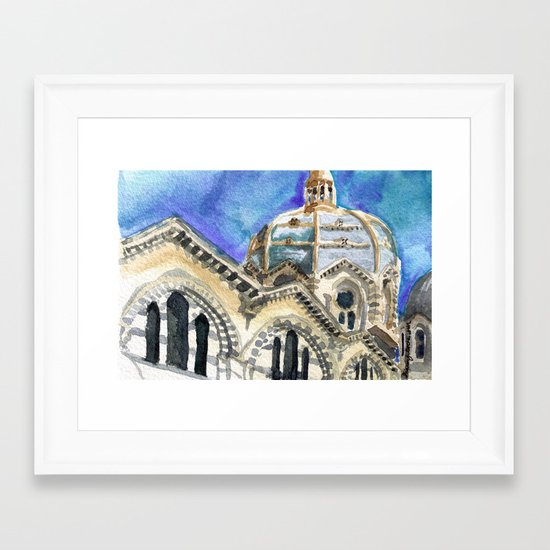 Marseille Cathedral Sketch Framed Art Print