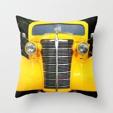 Yellow Chevy Throw Pillow