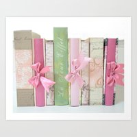 Shabby Chic Cottage Pink Aqua Books Collection  Art Print