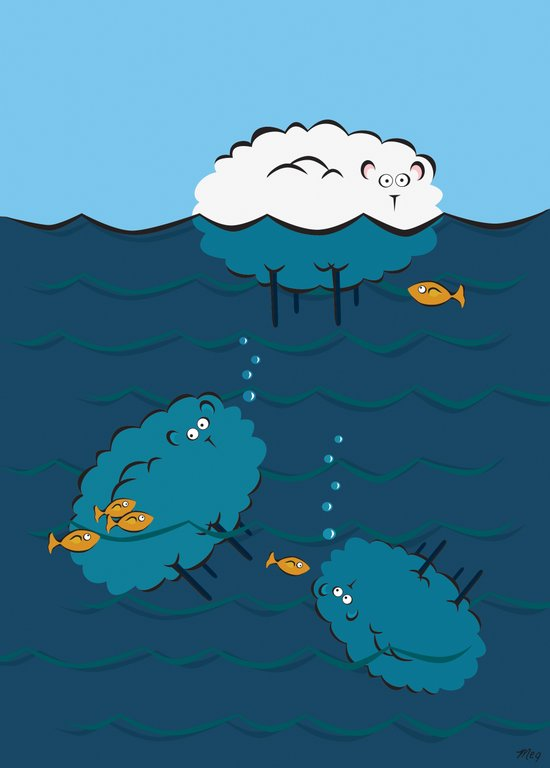Sinking Sheep Art Print
