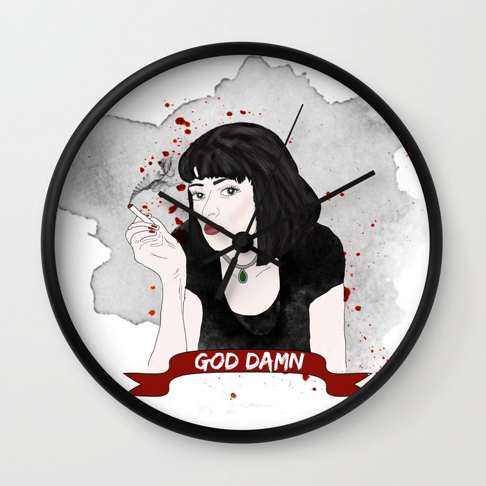 Pulp Fiction S Mia Wallace Wall Clock By Raeuberstochter