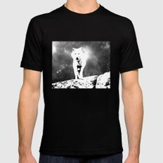 Walking on the moon Wolf Black Mens Fitted Tee SMALL