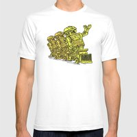 Robot Riding Mens Fitted Tee White SMALL