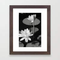 Black & White Lilypad Framed Art Print