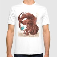Space Brontosaurus  Mens Fitted Tee White SMALL