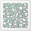 Abstraction Lines with Mint Blocks Art Print