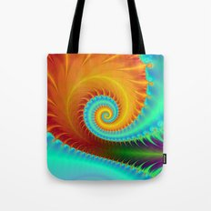 Toothed Spiral in Turquoise and Gold Tote Bag