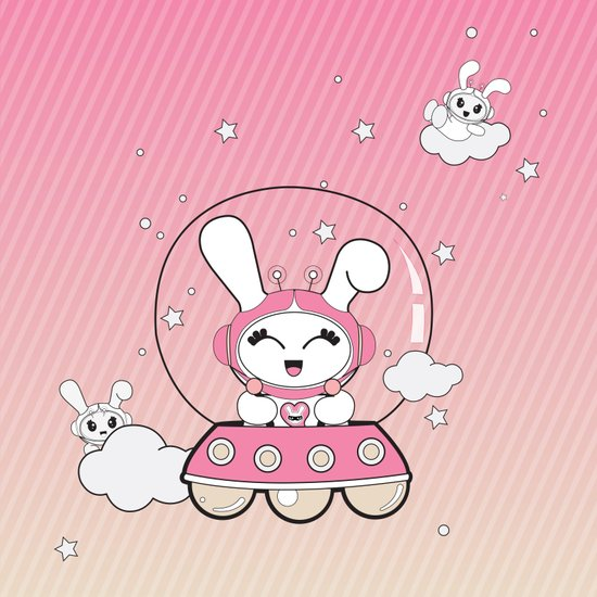 Space Bunny Flying Art Print