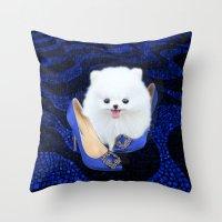 Blue Manolos Throw Pillow
