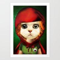 Kitten Red Riding  Art Print