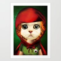 Kitten red riding  Art Print