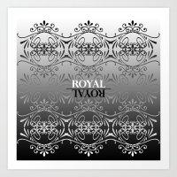 Black and white lace pattern Art Print