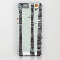 winter iPhone & iPod Cases featuring Robin Trees by Sandra Dieckmann