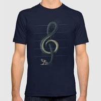 Snake Note Mens Fitted Tee Navy SMALL