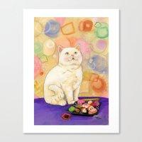 Sushi Cat In love Canvas Print