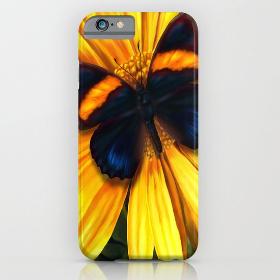 Butterfly on yellow iPhone & iPod Case