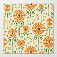 Retro Sunflower Pattern - Susan Weller Canvas Print