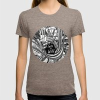 Into The Wild (b&w version) Womens Fitted Tee Tri-Coffee SMALL