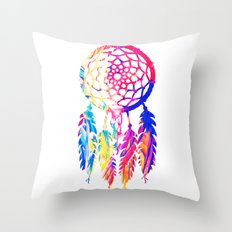 Hipster Neon Dreamcatcher Cute Rainbow Watercolor Throw Pillow