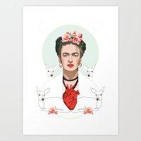 Frida Kahlo (Light) Art Print
