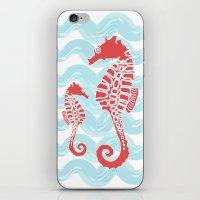 Beachy Seahorses Dancing in the Waves iPhone & iPod Skin