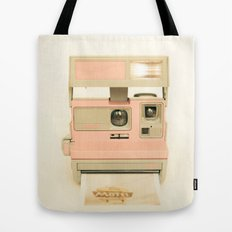 Pink Pola Love vintage camera Tote Bag