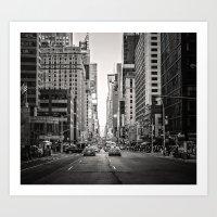 Sunset on 7th (Black and White Version) Art Print