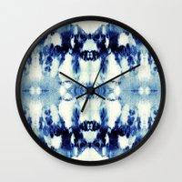 Tie Dye Blues Wall Clock