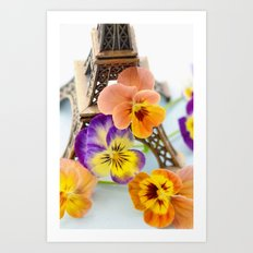 FLOWER AND PARIS Art Print