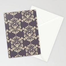 Damask aubergine Stationery Cards