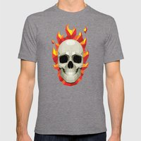 Flaming Skull Mens Fitted Tee Tri-Grey SMALL