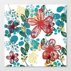 Floral (teal) Canvas Print