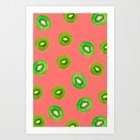 pink kiwi Art Print