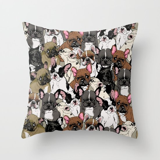 Social Frenchies Throw Pillow
