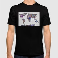 Stars World Map Mens Fitted Tee Black SMALL